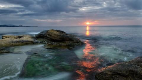 sunrise in black sea, near burgas