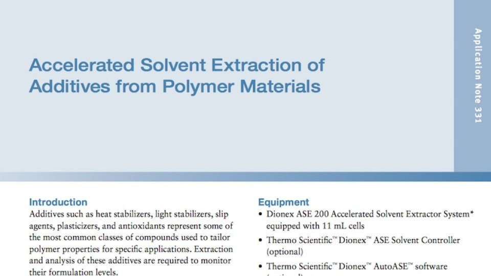 Accelerated Solvent Extraction Of Additives From Polymer Materials