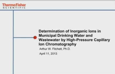 Determination of Inorganic Ions in Municipal Drinking Water and Wastewater by High-Pressure Capillary Ion Chromatography