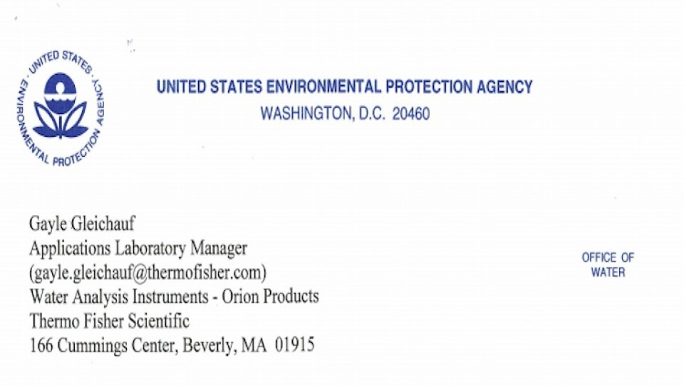EPA Method Approval Letter Thermo Orion AQ4500 Turbidity WW