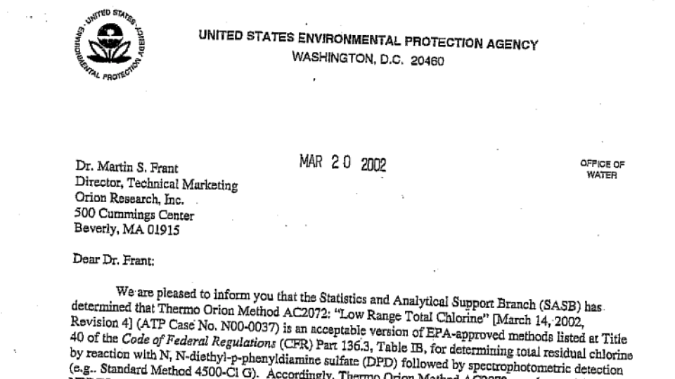 Epa method approval letter thermo orion ac2072 total chlorine ww thecheapjerseys Choice Image