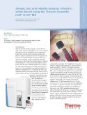Simple, fast and reliable analysis of lead in whole blood using the Thermo Scientific iCAP Q ICP-MS