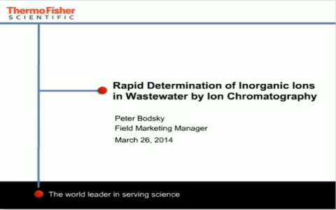 Rapid Determination of Inorganic Ions in Wastewater by Ion Chromatography